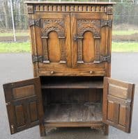 SOLD - Antique Style Carved Oak Cabinet Cupboard